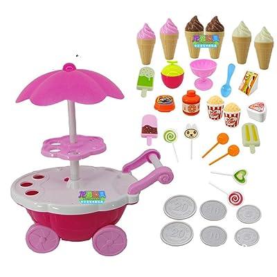 MXECO Simulation Small Carts Girl Candy Cart Ice Cream Shop Supermercado Trolley Car Juguetes para niños con música Ligera Juguetes para Jugar en casa: Juguetes y juegos
