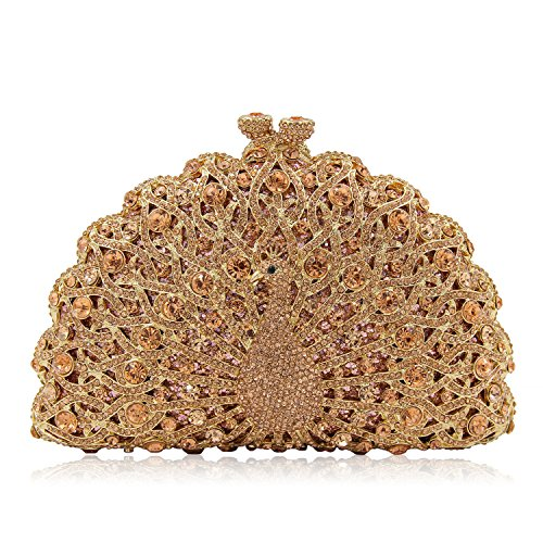 Evening Champagne Giltter Peacock Purse Clutch Clutches Crystal Milisente Banquet Women Evening Diamonds Bag wqHa7YS