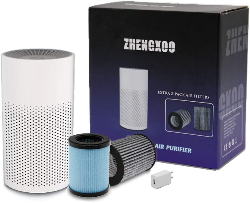 ZHENGXOO Portable Air Purifier for Home Bedroom Office Desktop Pet Room, Safety Mini Air Cleaner,3-in-1 True HEPA Mini Purifier for Children & Elder with 2 Mini Air Purifier Filters