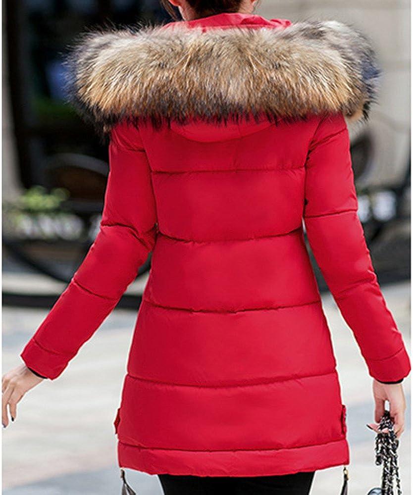 Beikoard Vestiti Donna Invernali Piumini Donna Invernale,Giacca Cappotto da Donna con Cappuccio Parka Outwear Caldo e Lungo da Donna Rosso 2,M