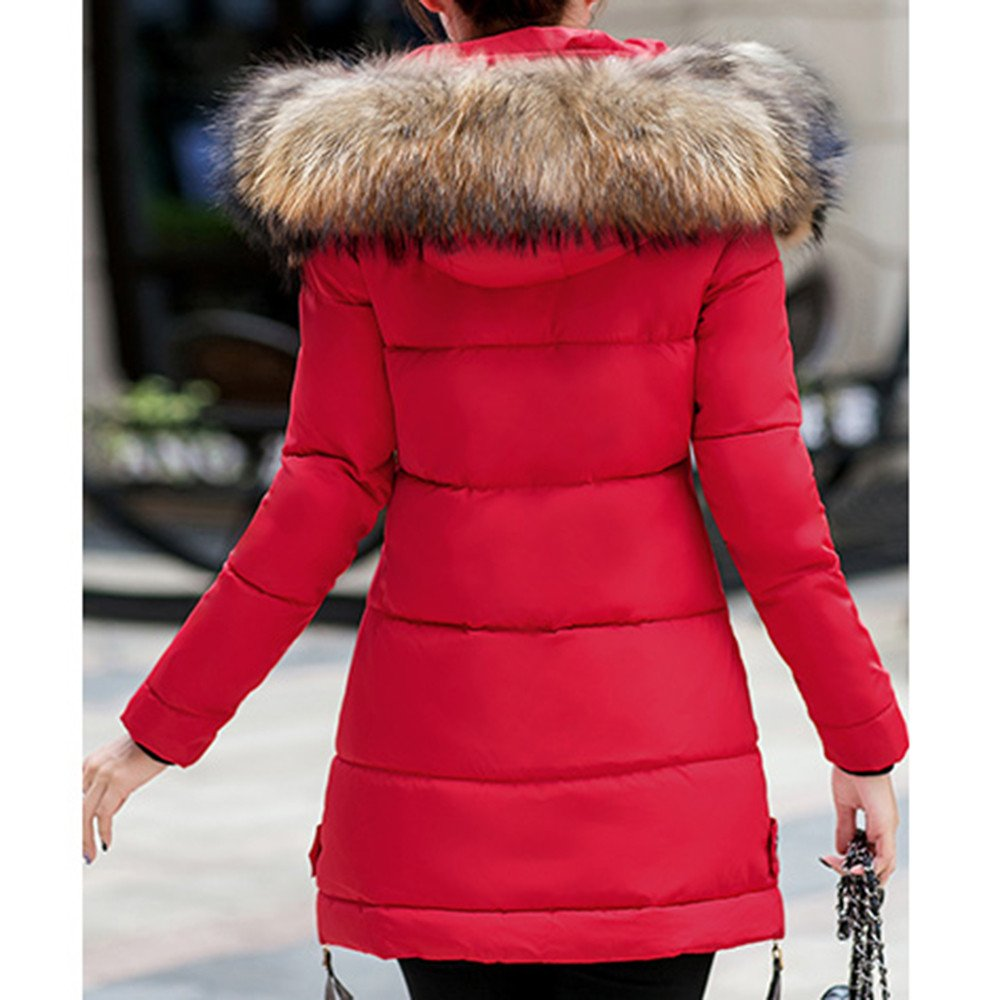 Womens Winter Warm Thickened Zipped Button Down Parka Coat with Removable Fur Hood
