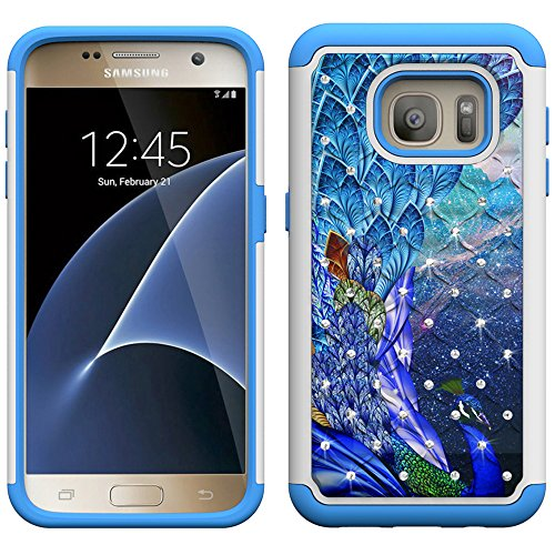 S7 Case, Galaxy S7 Case, UrSpeedtekLive [Shock Absorption] Dual Layer Hybrid Defender Protection Rhinestone Crystal Bling Cover Case for Samsung Galaxy S7 - Peacock (Not for S7 EDGE,S7 ACTIVE)
