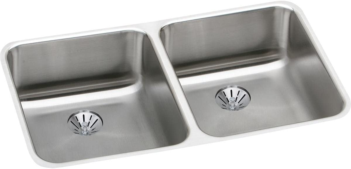 Elkay ELUH3118PD Lustertone Classic Double Bowl Undermount Stainless Steel Sink with Perfect Drain