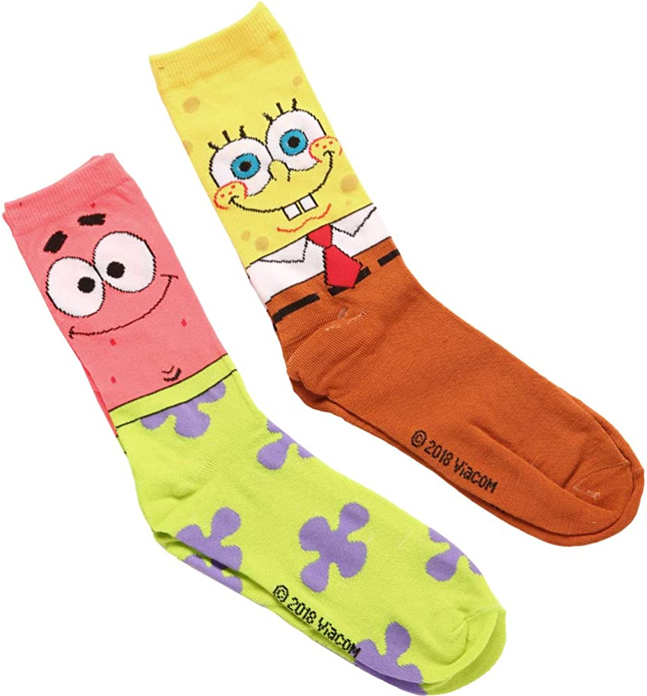 Spongebob /& Patrick Adult 2-pack Crew Socks
