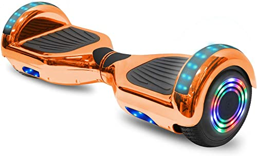cho 6.5 inch Hoverboard Electric Smart Self Balancing Scooter with Built-in Wireless Speaker LED Wheels and Side Lights Safety Certified