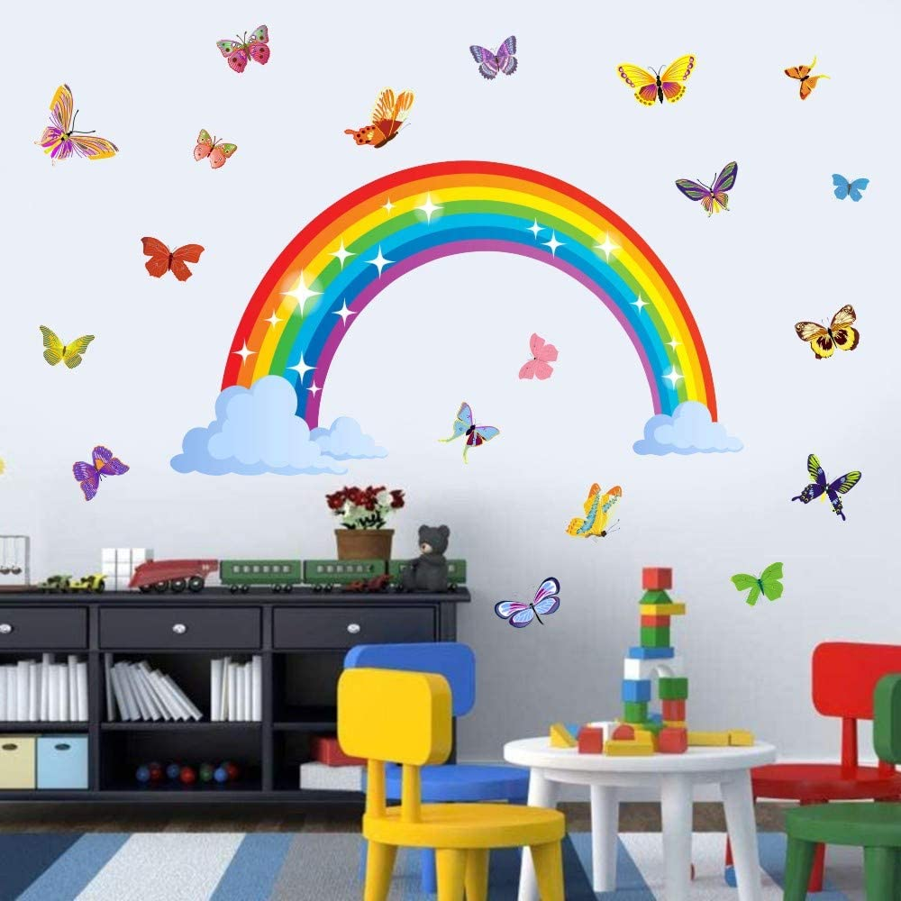 Romantic Butterfly Wall Decal,Rainbow Wall Decal,Removable Wall Girls Bedroom Decor Kids Room Decal