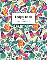 Ledger Books for Bookkeeping: Colorful Flowers | 4 Column Accounting Ledger Book | Columnar Notebook | Budgeting and Money Management | Home School Office Supplies