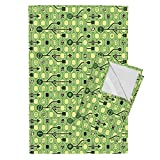 Roostery Nerds Gay Emoticon Math Green Geek Technology Tea Towels Geek_Spirit_Green by Chicca Besso Set of 2 Linen Cotton Tea Towels