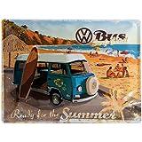 Nostalgic Art - Plaque de Décoration en Métal - Design Rétro - Vintage VW Volkswagen - Ready for the Summer