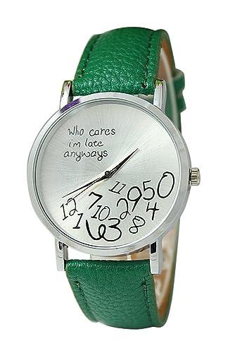 """Reloj de pulsera - SODIAL(R)Reloj unisex con """"who cares,"""