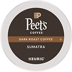 Peet's Coffee K-Cup Pack Sumatra, Dark Roast Coffee, 32 Count Single Cup Coffee Pods, Earthy, Complex, Hefty Classic Blend of Indonesian Coffee, with a Syrup-like Body; for All Keurig K-Cup Brewers