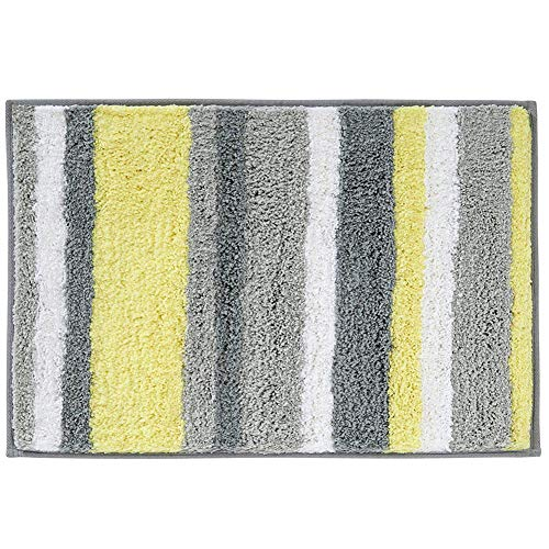 HEBE Microfiber Bathroom Rugs Mats Striped, Non Slip Absorbent Bath Rugs Floor Mat Machine Washable (20″x32″, Yellow/Grey)