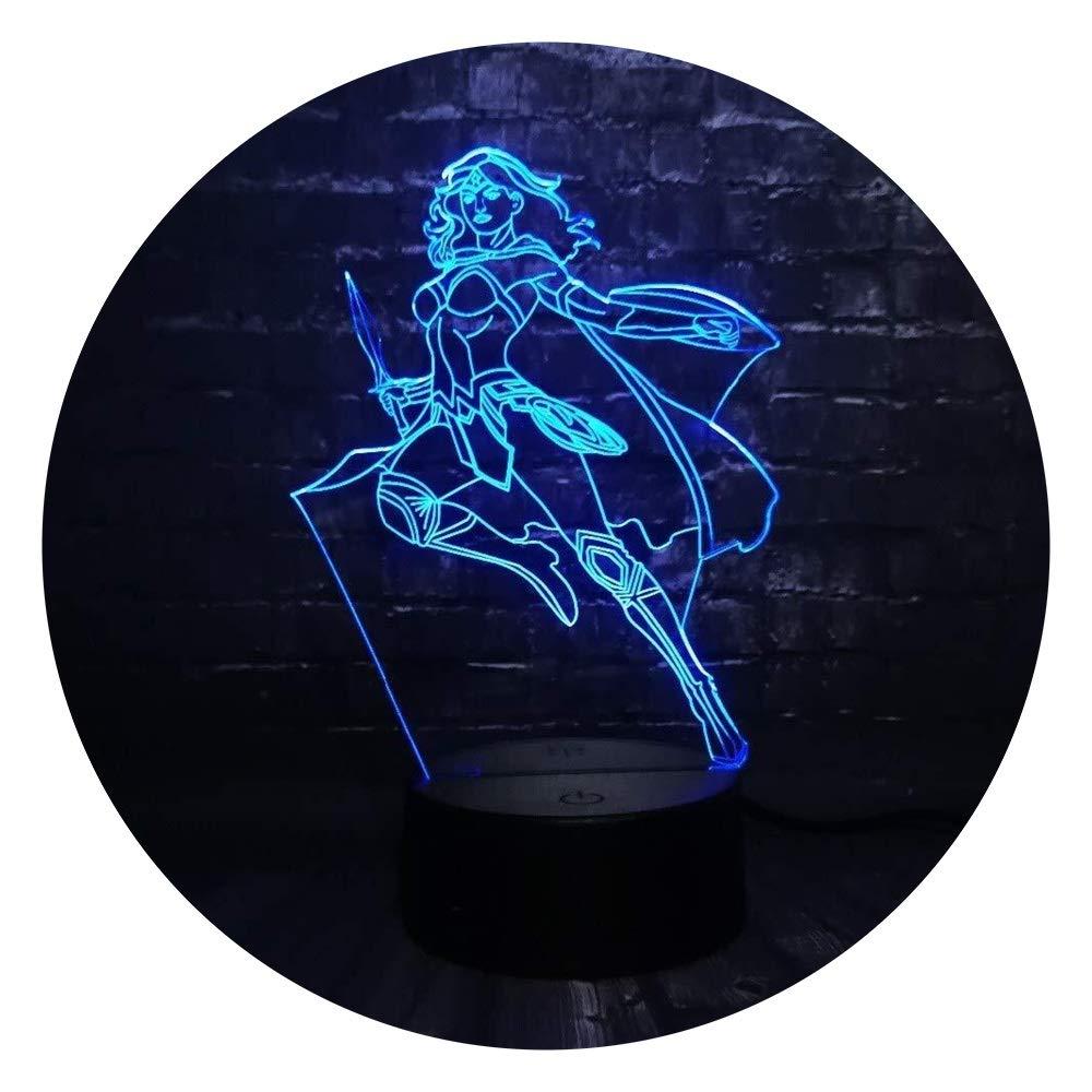 JINXUXIONGDI Visual Stereo Vision 3D Wonder Woman Leading Night Lights Decorative Lights Bedroom Sleep Lights 7 Color Change Boys Girls Children's Decoration