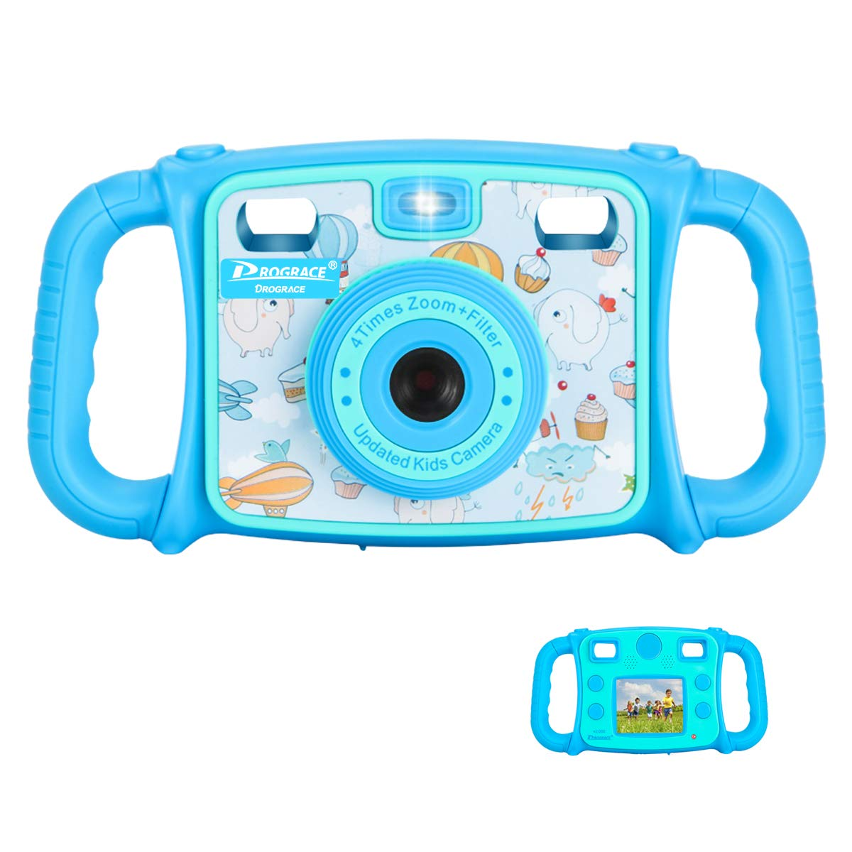 "Prograce Kids Camera Creative Camera 1080P HD Video Recorder Digital Action Camera Camcorder for Boys Girls Gifts 2.0"" LCD Screen with 4X Digital Zoom and Funny Game(Blue)"