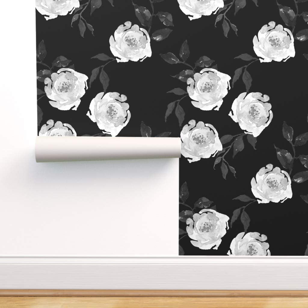 Spoonflower Peel And Stick Removable Wallpaper Monochrome Floral