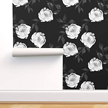 Spoonflower Peel And Stick Removable Wallpaper Monochrome Floral Black And White Florals Flowers Print Self Adhesive Wallpaper 12in X 24in Test Swatch Amazon Com