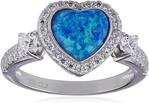 Glitzs Jewels 925 Sterling Silver Created Opal Ring Heart Filigree Light Blue | Jewelry Gift for Women