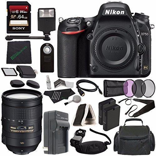 Nikon D750 DSLR Camera (Body Only) + Nikon AF-S NIKKOR 28-300mm f/3.5-5.6G ED VR Lens + 77mm 3 Piece Filter Set (UV, CPL, FL) + Battery + Sony 64GB SDXC Card + HDMI Cable + Card Reader + Flash Bundle (Nikon 77mm Uv)