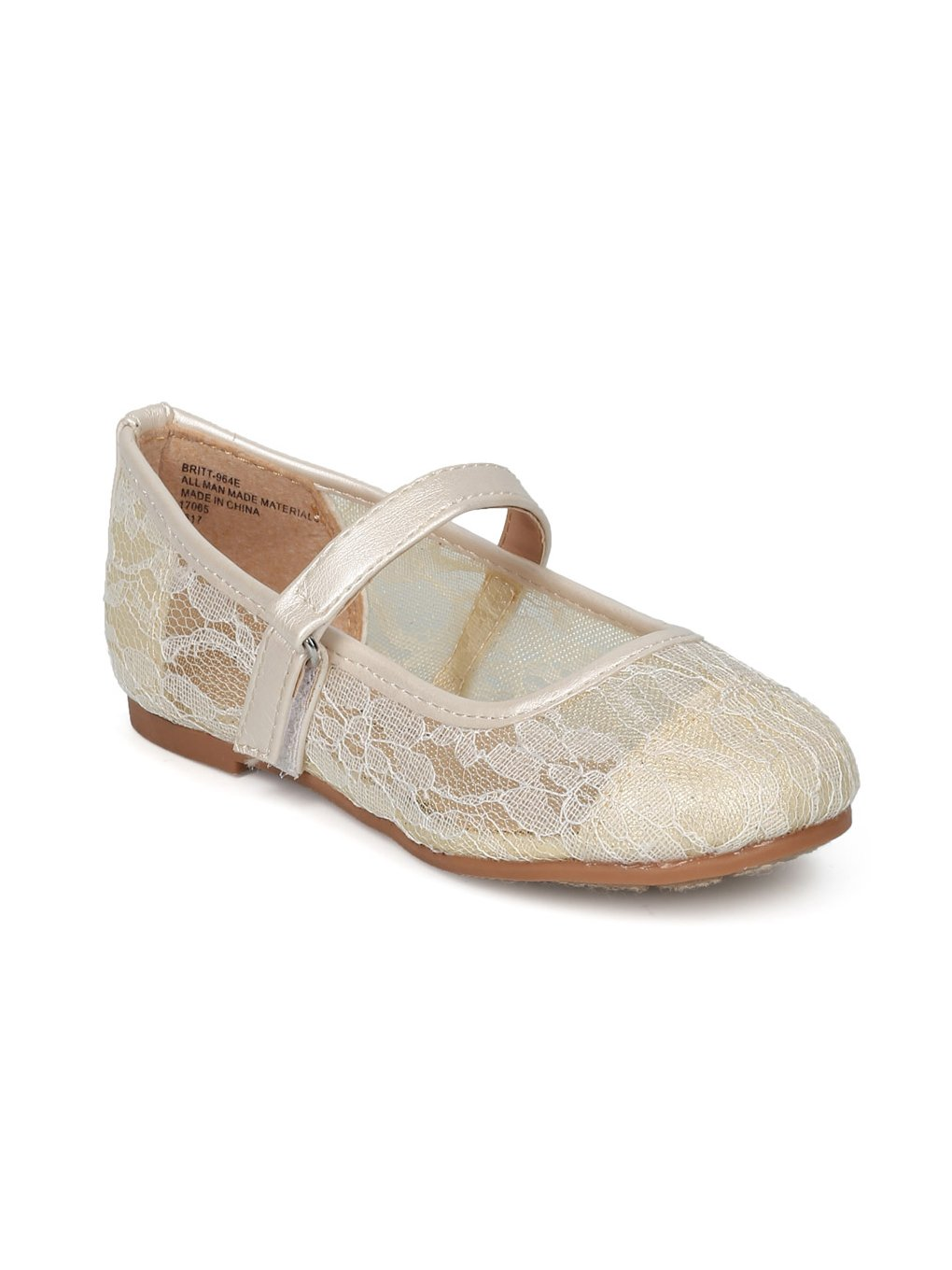 Alrisco Lace Mesh Capped Toe Mary Jane Ballet Flat HF23 - Ivy Mix Media (Size: Toddler 5)