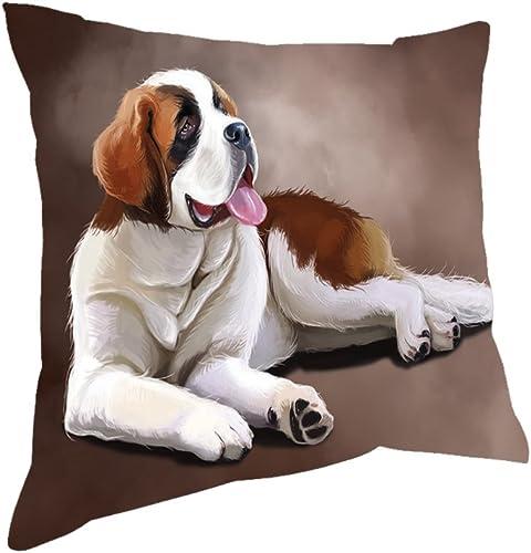 Saint Bernard Dog Throw Pillow 18×18