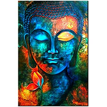 sunfrower Art-Colorful Abstract Blue Buddha Wall Art Lotus Modern Home Living Room Study Bedroom Decor Canvas Print Painting Picture,Buddha Murals Hanging Wall Decor 24x36 Inch