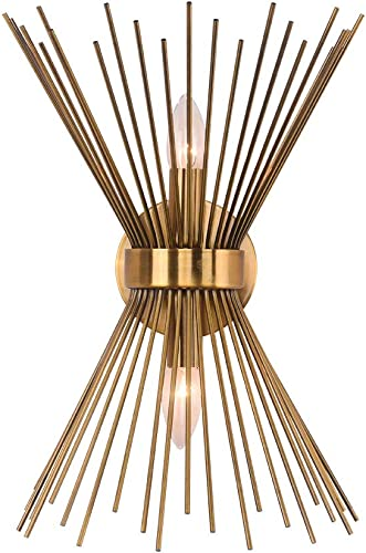 EDISLIVE 2-Light Vanity Light Mid-Century Modern Starburst Wall Sconce Lamp Sunburst Sconce Gold Lamp