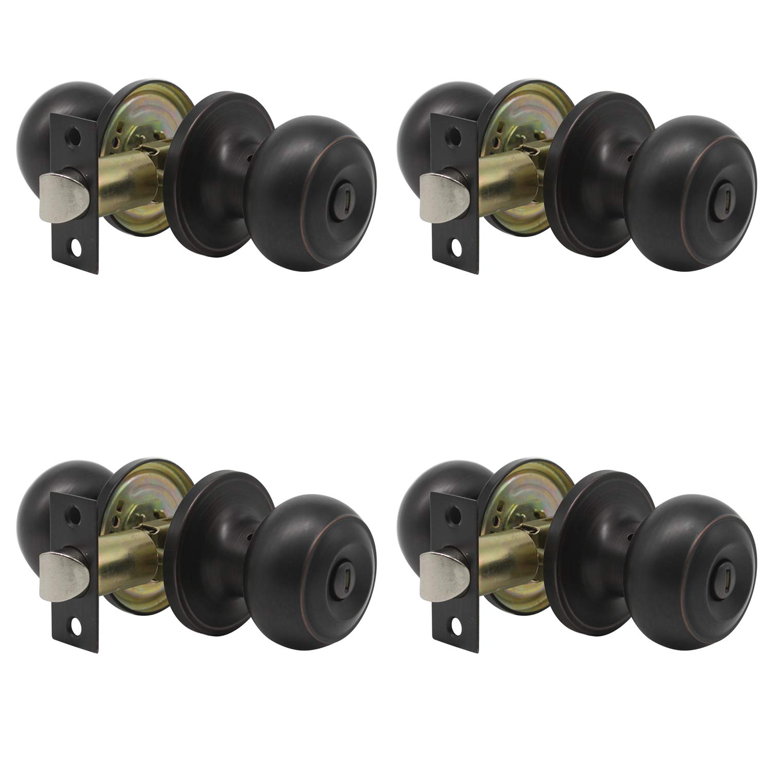 Probrico Oil Rubbed Bronze Privacy Door Knobs Interior Bed and Bath Keyless Handles Locksets (4 Pack)