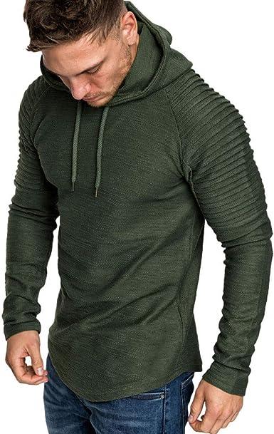 Mens Hoodies Slim Fit Blouse Long Sleeve Sweater Top