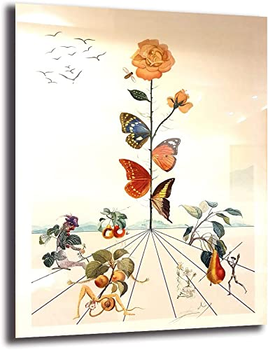 Salvador Dali Vintage Butterfly Face Poster Minimalist Art Canvas Print Wall Picture Modern Home Room Wall Decoration Framed,24x32inch