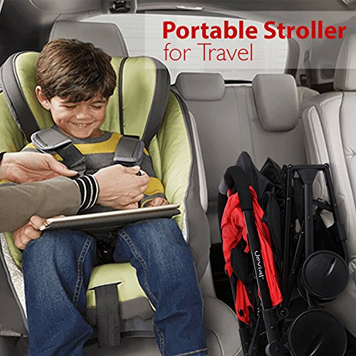 Portable Folding Baby Travel Stroller - Upgraded Lightweight Foldable Compact Stroller w/Adjustable Reclining Seat, Foot-Activated Brake, Locking Front Wheels, Retractable Canopy - Jovial by Jovial (Image #6)