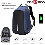 Business Anti-theft Water Resistant Polyester Laptop Backpack with USB Charging Port, Lightweight Multifunction Travel Backpack for College Student, Work Men & Women (Blue)