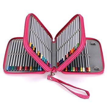 BTSKY Estuche Escolar para Escribanía Lápices con Forma de Cuadro 4 Capas Capacidad de 72 Ranuras Con Asa Extraíble Organizador para Lapices ...