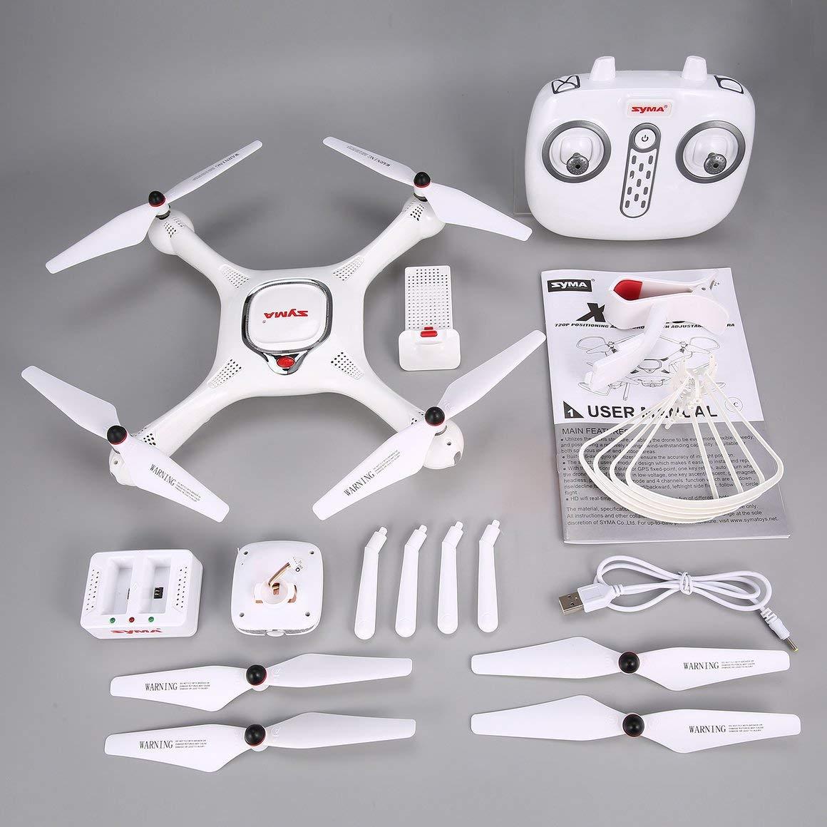 Funnyrunstore Syma X25PRO 2.4G GPS Positionierung FPV RC Drone Quadcopter mit 720 P HD Wifi Einstellbare Kamera Höhe Halten Follow Me Geschenk (Farbe: Weiß)