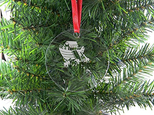 Personalized Custom Noah'S Ark Clear Acrylic Hanging Christmas Tree Ornament with Red Ribbon (Noahs Ark Hanging)