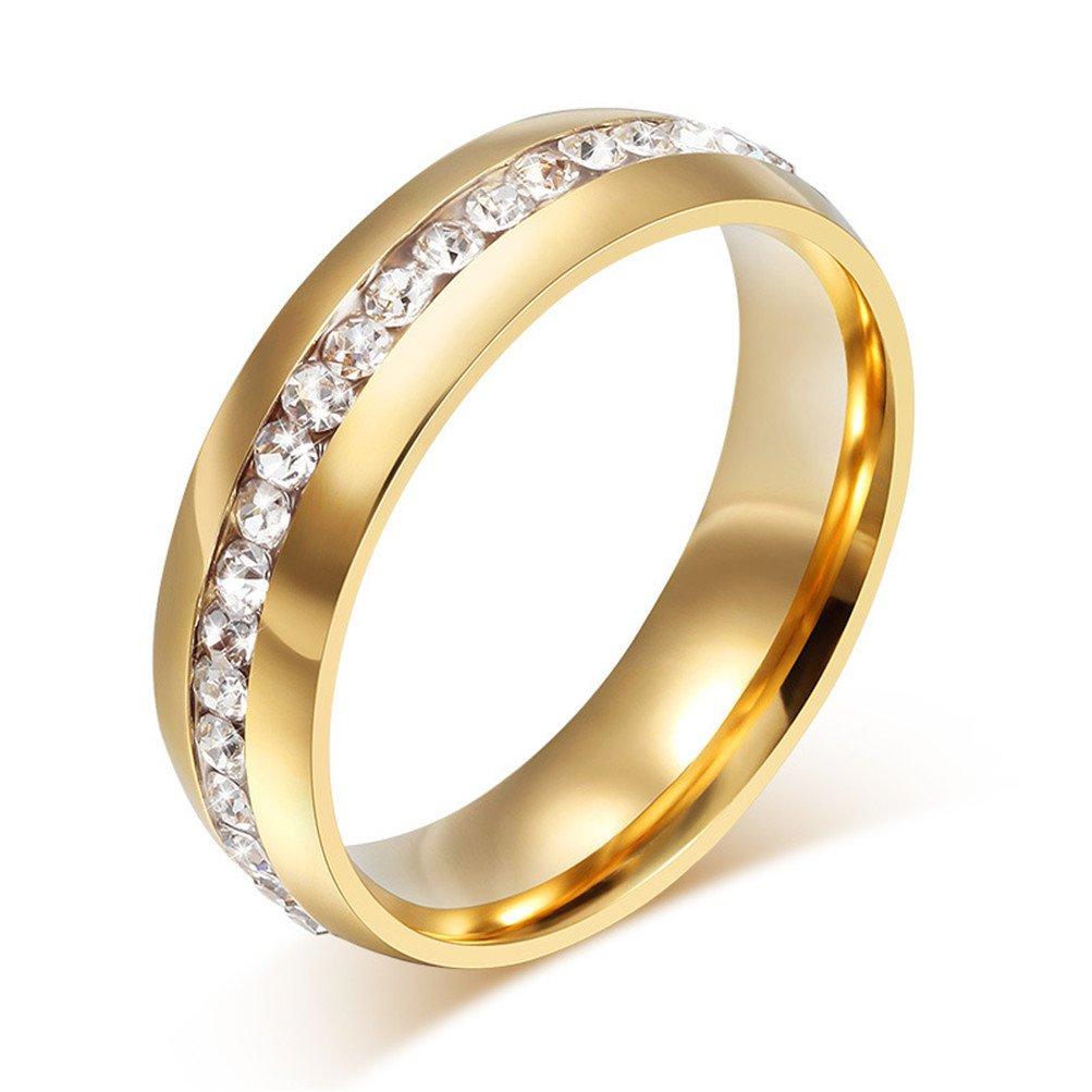 Mrsrui Luxury Round Crystal Wedding Band Ring Gift For Anniversary Birthday
