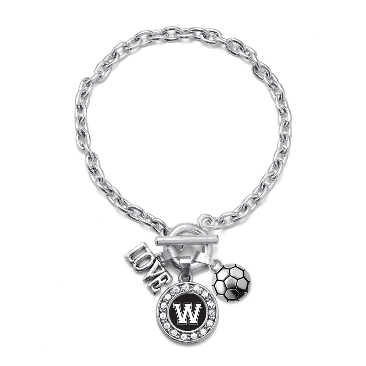 Inspired Silver My Sports Initial Circle Charm Soccer Toggle Charm Bracelet Letter W