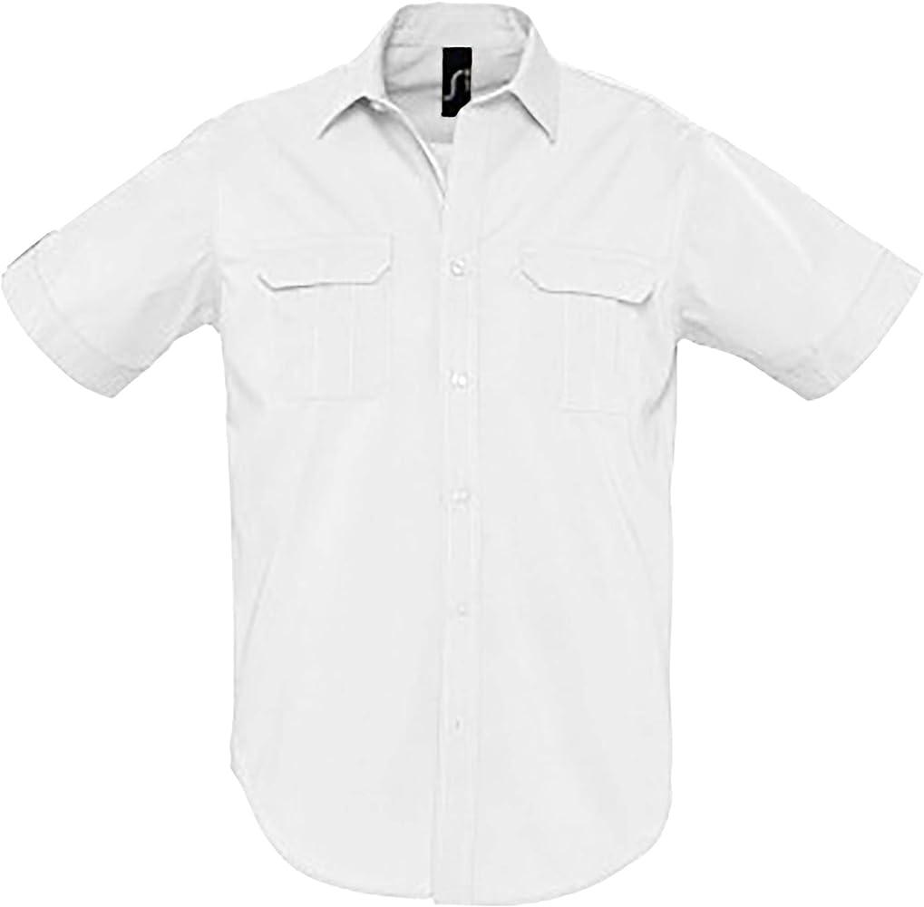 SOLS - Camisa de manga corta de popelín modelo Botswana para hombre (XL/Blanco): Amazon.es: Ropa y accesorios