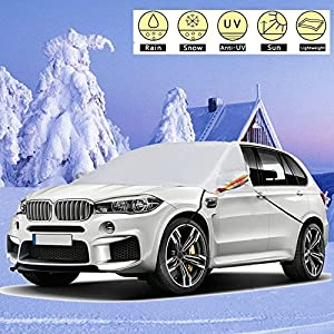 "Car Windshield Snow Cover 90"" x 61""– New 2018 Arrival for Automobiles Frost Ice Guard Design Protects Windshield Wiper, Mirror with hooks Fixed Four Wheels & Reflective Warning Bar for Car SUV"