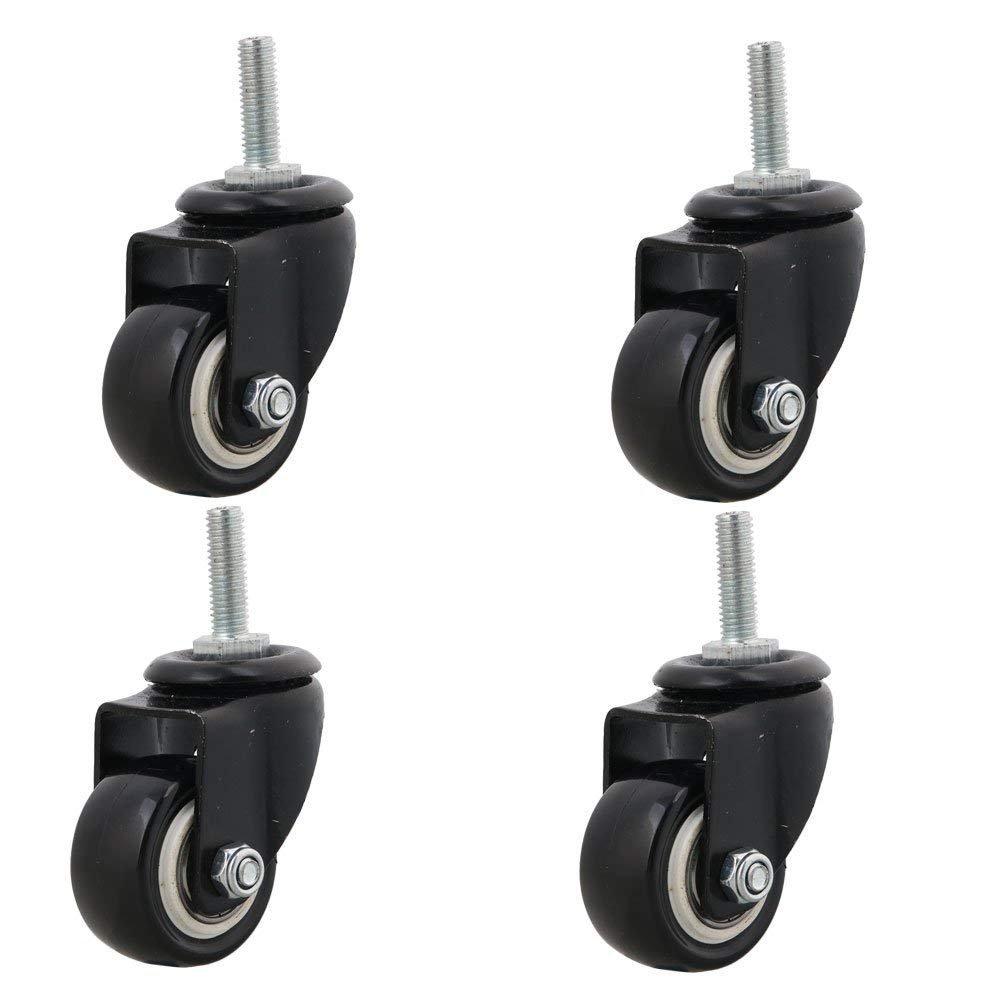 4pcs Heavy Duty 240kg M8x25mm PU Swivel Castor Wheels Trolley Furniture Caster Replacement (Castor Without Brake)