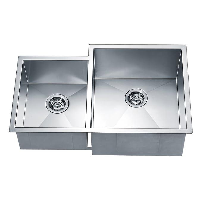 Daweier ESQ310809L Square Sink Double Bowls with Small Bowl on Left, 18 Gauge - - Amazon.com