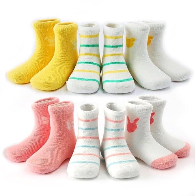 BTHEONE - Calcetines - para bebé niña amarillo 3 Pairs of Pink + 3 Pairs of