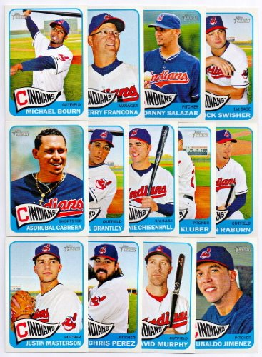 Cleveland Indians 2014 Topps Heritage MLB Baseball Complete Mint Basic 13 Card Team Set with Asdrubal Cabrera Nick Swisher Plus