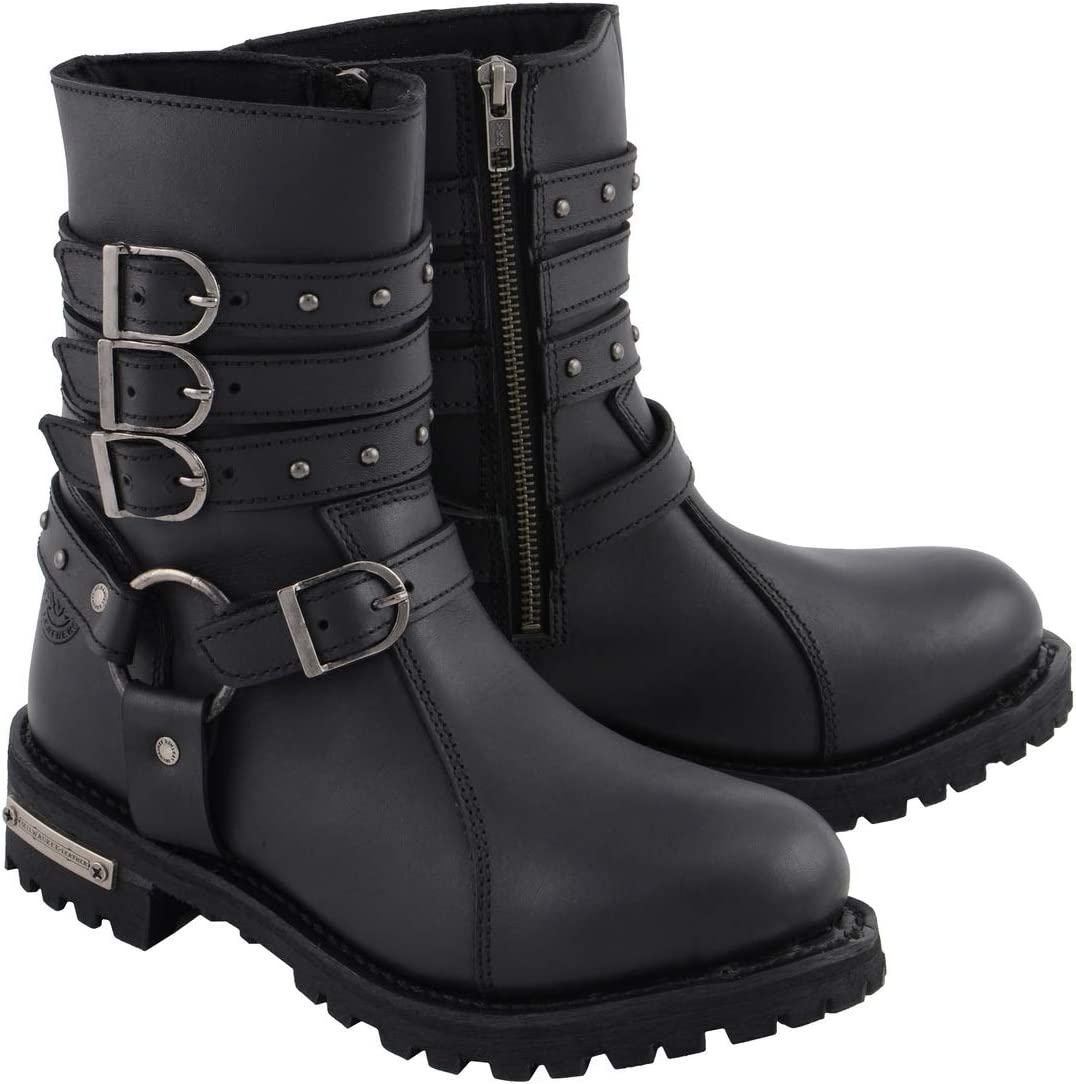 Milwaukee Leather MBL9399 Womens 9 Inch Black Triple Buckle Leather Harness Boot with Side Zipper Entry 8