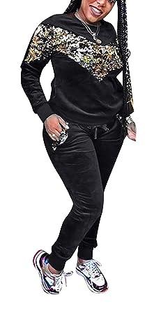 e2e4fd40384 Women 2 Piece Outfits Sequin Long Sleeve Sweatshirts Bodycon Pants  Tracksuits Jogger Suit Set Plus Size