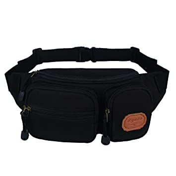 Ryaco [Canvas] Bum bag, Waist Pack, Waist Bag, Fanny Pack, Workout Belt, Running belt, Race Belt, Runner Belt, Workout Pouch for Men/Women - Fitness/Execise/Hiking/Climbing/Hunting/Outdoor Sports