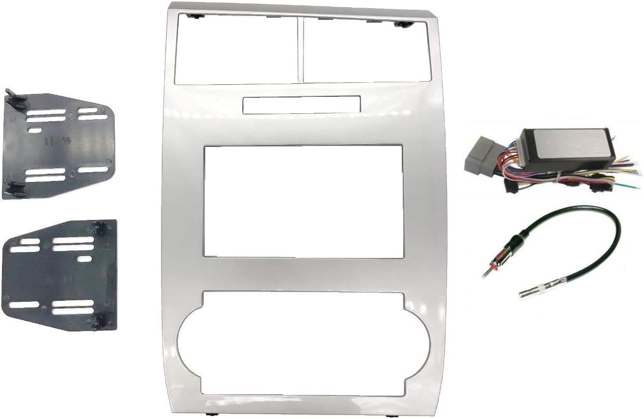 Radio Stereo Car Install Double Din Silver Bezel CAN-Bus Premium Systems Steering Wheel Interface Harness /& Antenna Adapter Compatible with Dodge Charger 2006 2007 Magnum 2005-2007