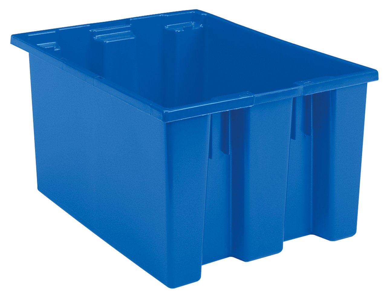 Akro-Mils 35300 Nest and Stack Plastic Storage and Distribution Tote, 29.5-Inch L by 19.5-Inch W by 15-Inch H, Blue, Case of 3