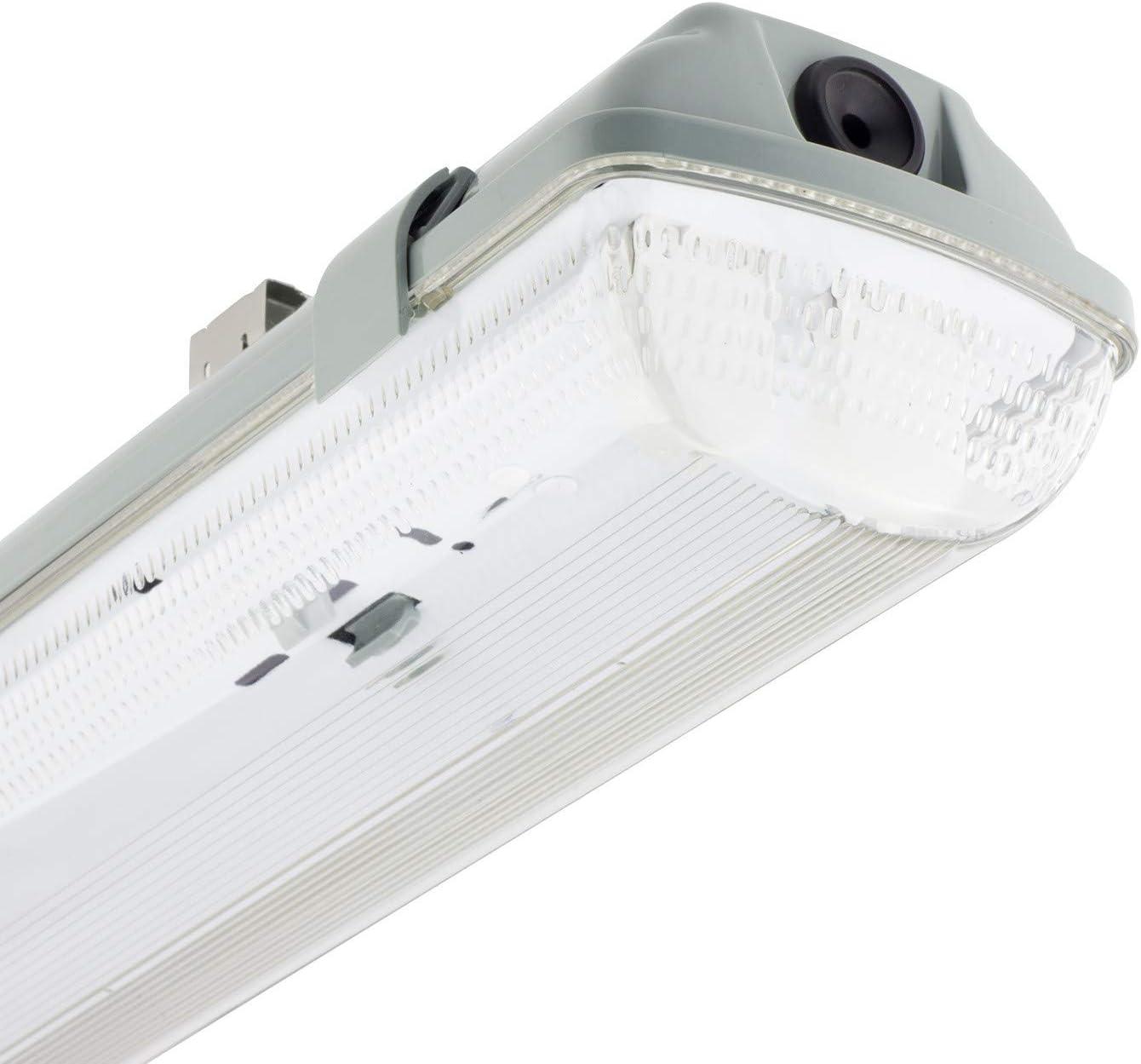 Kit Pantalla Estanca con dos Tubos LED 600mm Conexión un Lateral Blanco Neutro 3800K - 4200K
