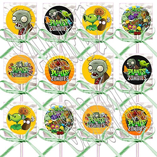 Plants vs Zombies Lollipops Video Game Party Favors Supplies Decorations Lollipops with Lime Green Ribbon Bows Party Favors -12 -