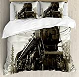 Steam Engine Duvet Cover Set by Ambesonne, Antique Northern Express Train Canada Railways Photo Freight Machine Print, 3 Piece Bedding Set with Pillow Shams, Queen / Full, Black Grey